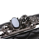 Skull Ring Woman Purse Vintage plaid Luxury party Clutches - HARD'N'HEAVY