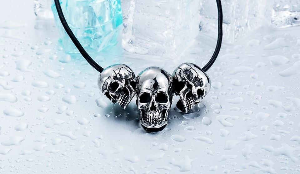 Super Skull Biker Pendant Necklace / Stainless Steel Alternative Fashion Jewelry - HARD'N'HEAVY