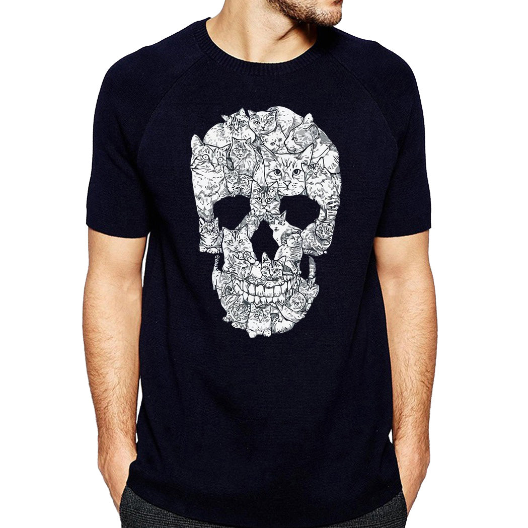 Skull with Cats  Print Women T-shirt / Short Sleeve Tees in Alternative Fashion - HARD'N'HEAVY