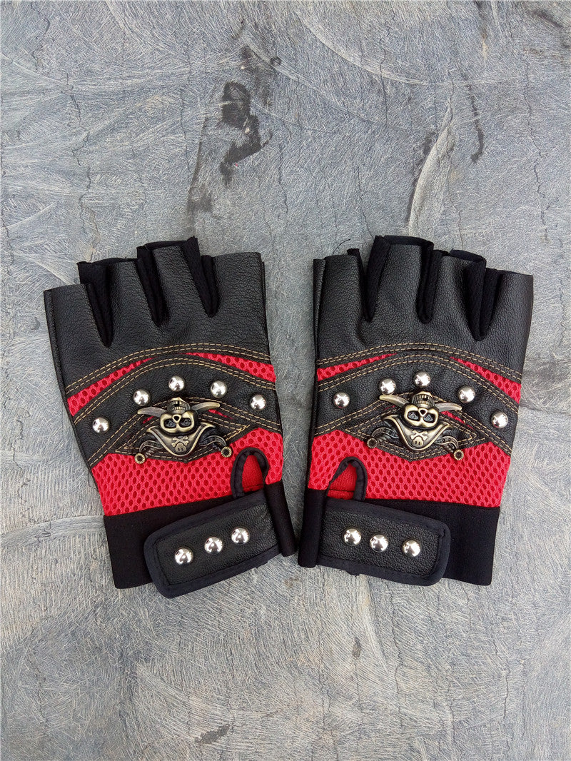 Skulls Rivet PU Leather Fingerless Gloves Men Women Alternative Fashion Punk Rock Half Finger Gloves - HARD'N'HEAVY