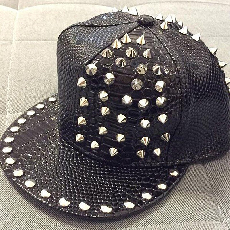 Snakeskin Rock Style Cap with Rivets & Studs / Punk Clothing / Edgy Clothing - HARD'N'HEAVY