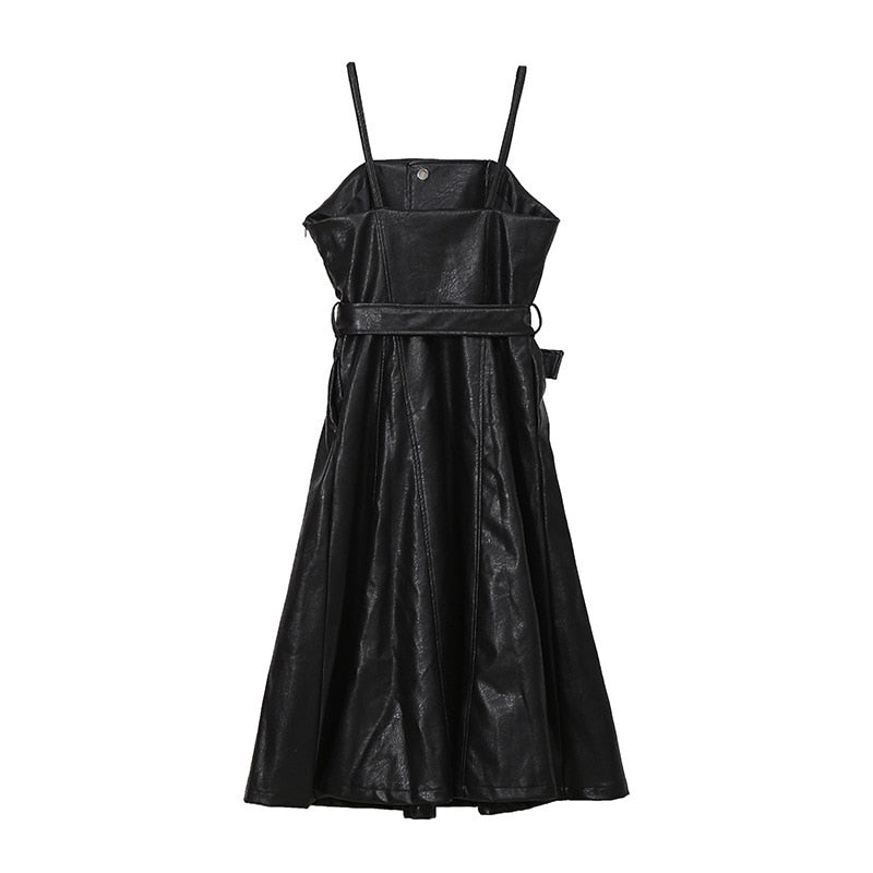 Solid Color Strapless Black PU Leather Dress / High Waist Belt Zipper Loose Dress - HARD'N'HEAVY