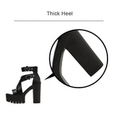 Solid Platform Women Sandals / Gothic High Heels Gladiator Shoes with Buckles - HARD'N'HEAVY