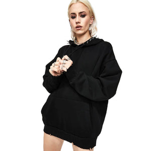 Spiked Hoodie Women Sweatshirt / Female Fall and Winter Black Long Sleeve Loose Pullover