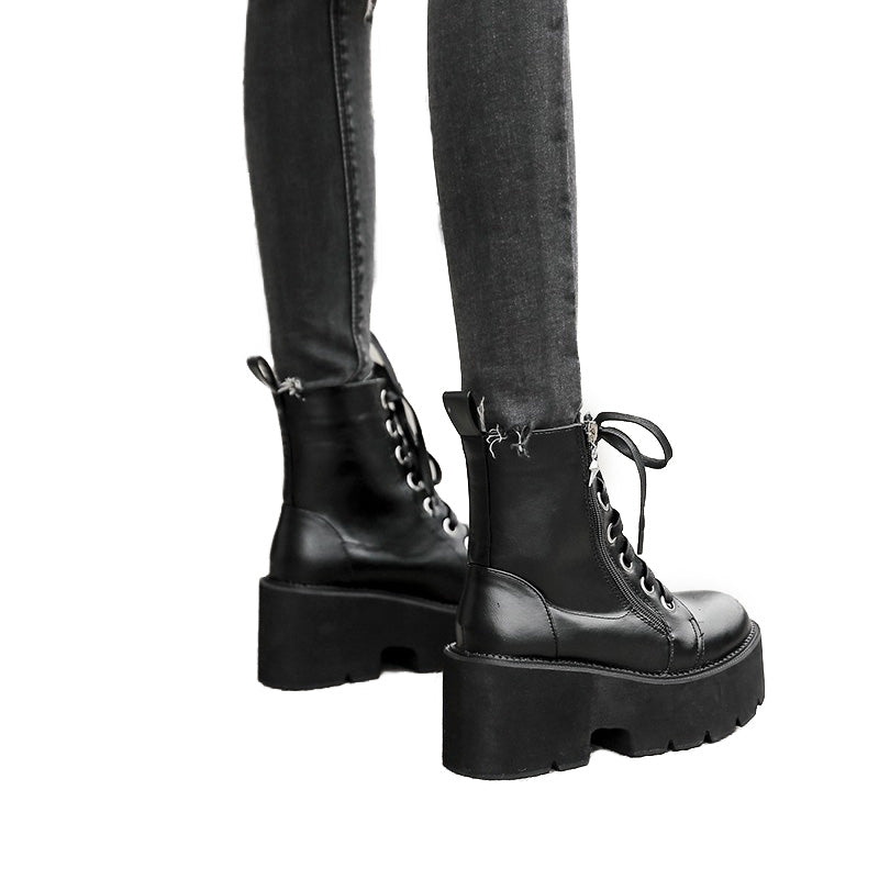 Spring and Autumn Women Shoes / Black Wedges Heels Boots in Rock Style / Lacing Platform Ankle Boots - HARD'N'HEAVY