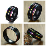Stainless Steel Enamel Rainbow Ring / Gothic Jewelry / Alternative Fashion - HARD'N'HEAVY