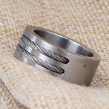 Stainless Steel Punk Rock Ring With Steel Wire / Alternative Fashion Jewelry - HARD'N'HEAVY