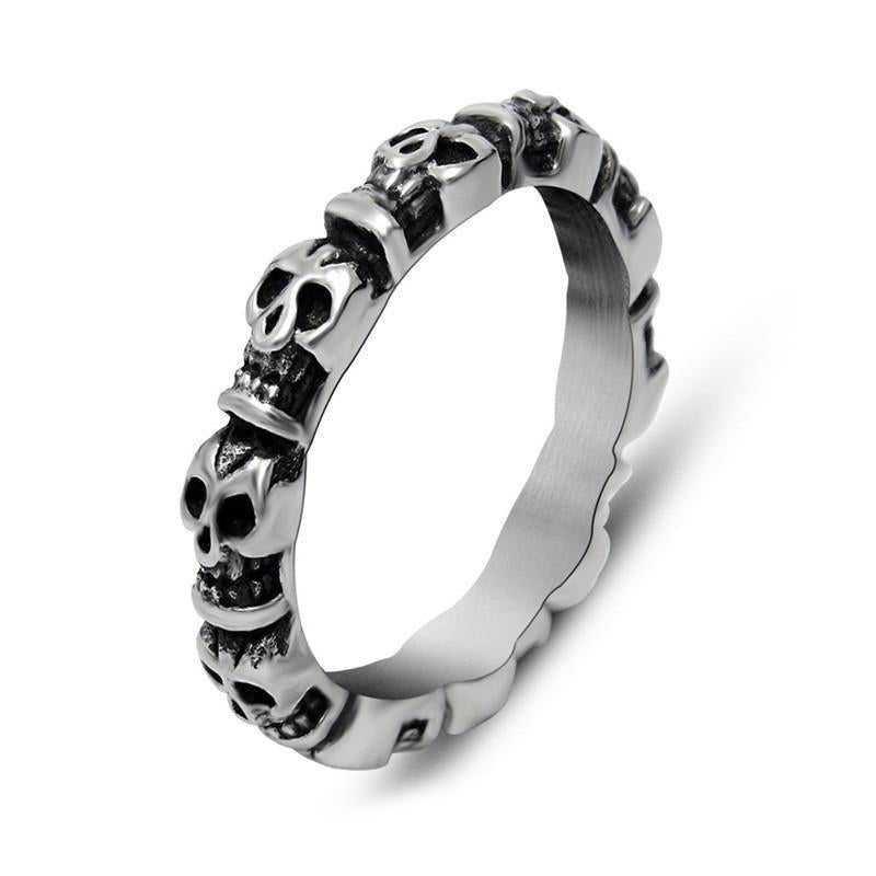 Stainless Steel Round Skull Silver-Color Punk Retro Ring / Bands Alternative Jewelry for Men Women - HARD'N'HEAVY
