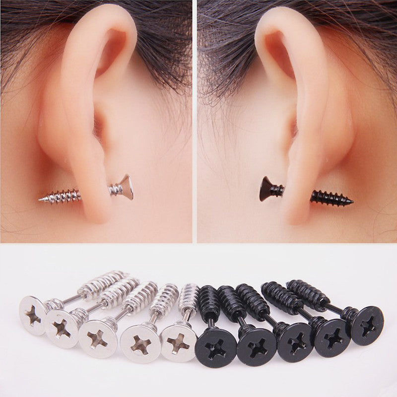 Stainless Steel Screw Earrings / Black/Silver Color Selection / Fashion Unisex Novelty Item - HARD'N'HEAVY