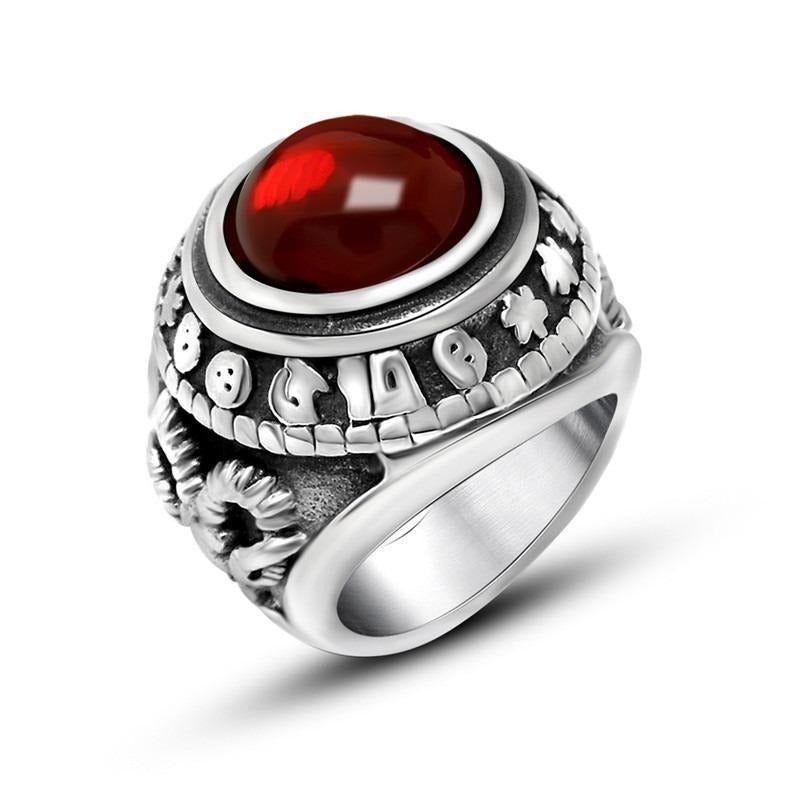 Stainless Steel Vintage Ring for Men & Women / Cool Retro Jewelry with Black & Red Stone - HARD'N'HEAVY