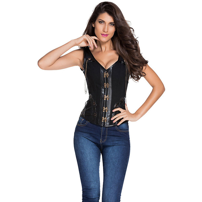 Steampunk Gothic Leather Corset Top / Gothic Bodice Waist - HARD'N'HEAVY