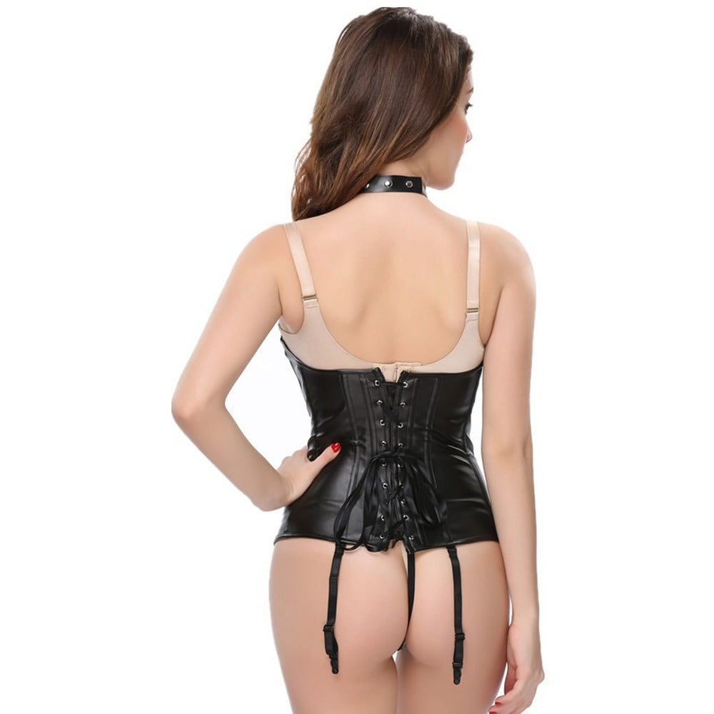 Steampunk Gothic PU Leather Halter / Corset Tops For Lady - HARD'N'HEAVY