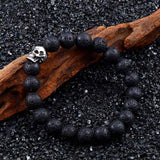 Steel soldier Unique item skull 10mm lava stone Alternative fashion Unisex Bracelet - HARD'N'HEAVY