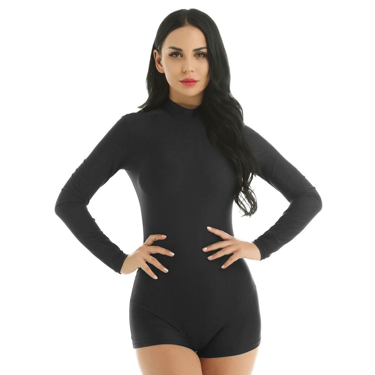 Stretchy Bodysuit for Rock Chick / Black Jumpsuit / Alternative Style Romper - HARD'N'HEAVY