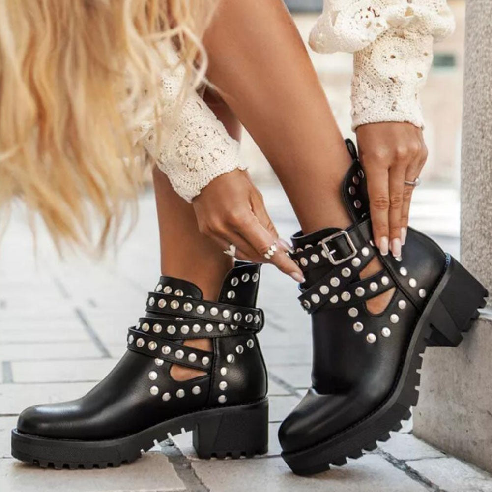 Studded Motorcycle Ankle Boots for Women / Rivet Summer Shoes in Rock Style - HARD'N'HEAVY