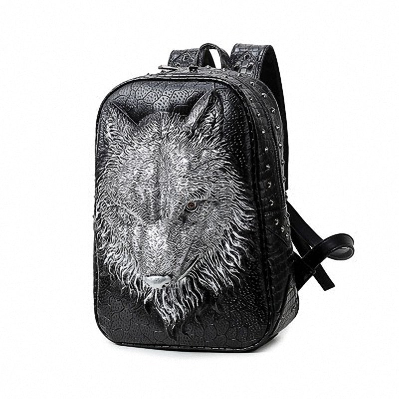 Stylish Backpacks with 3D Wolf Head / Special cool shoulder Bags / PU Leather Laptop bags - HARD'N'HEAVY