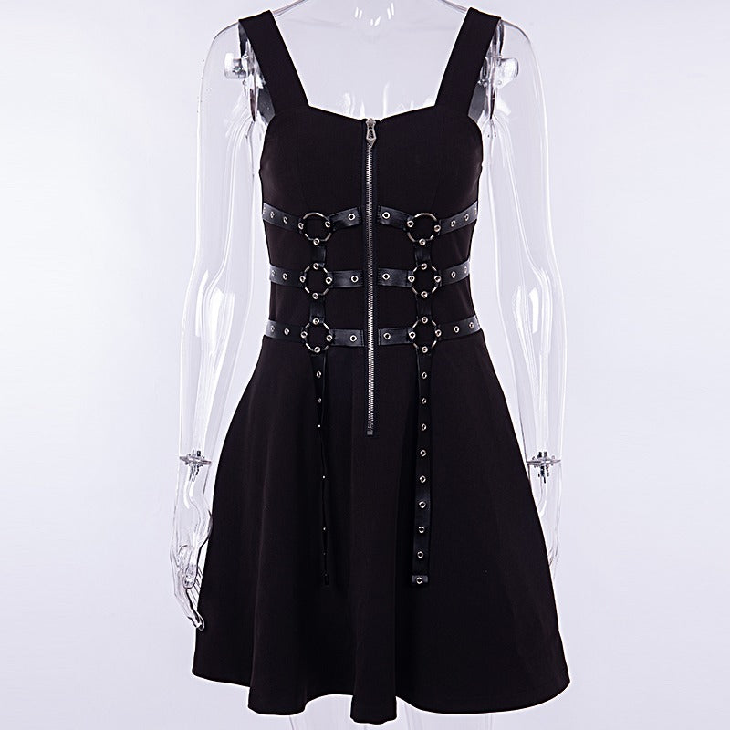 Stylish Gothic Dress for Women / Zipper Pleated Alternative Fashion Outfits - HARD'N'HEAVY