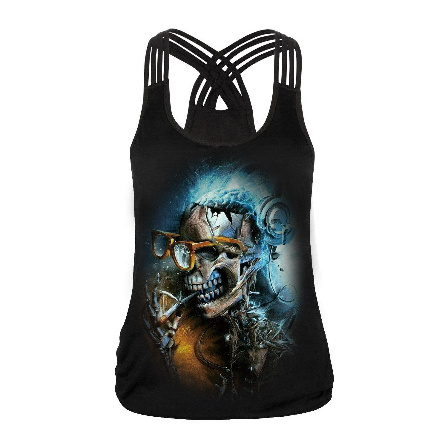 Sugar Skull Tank Top for Women / Halloween Fashion / Gothic Style Back Cross Sleeveless Vest #1 - HARD'N'HEAVY