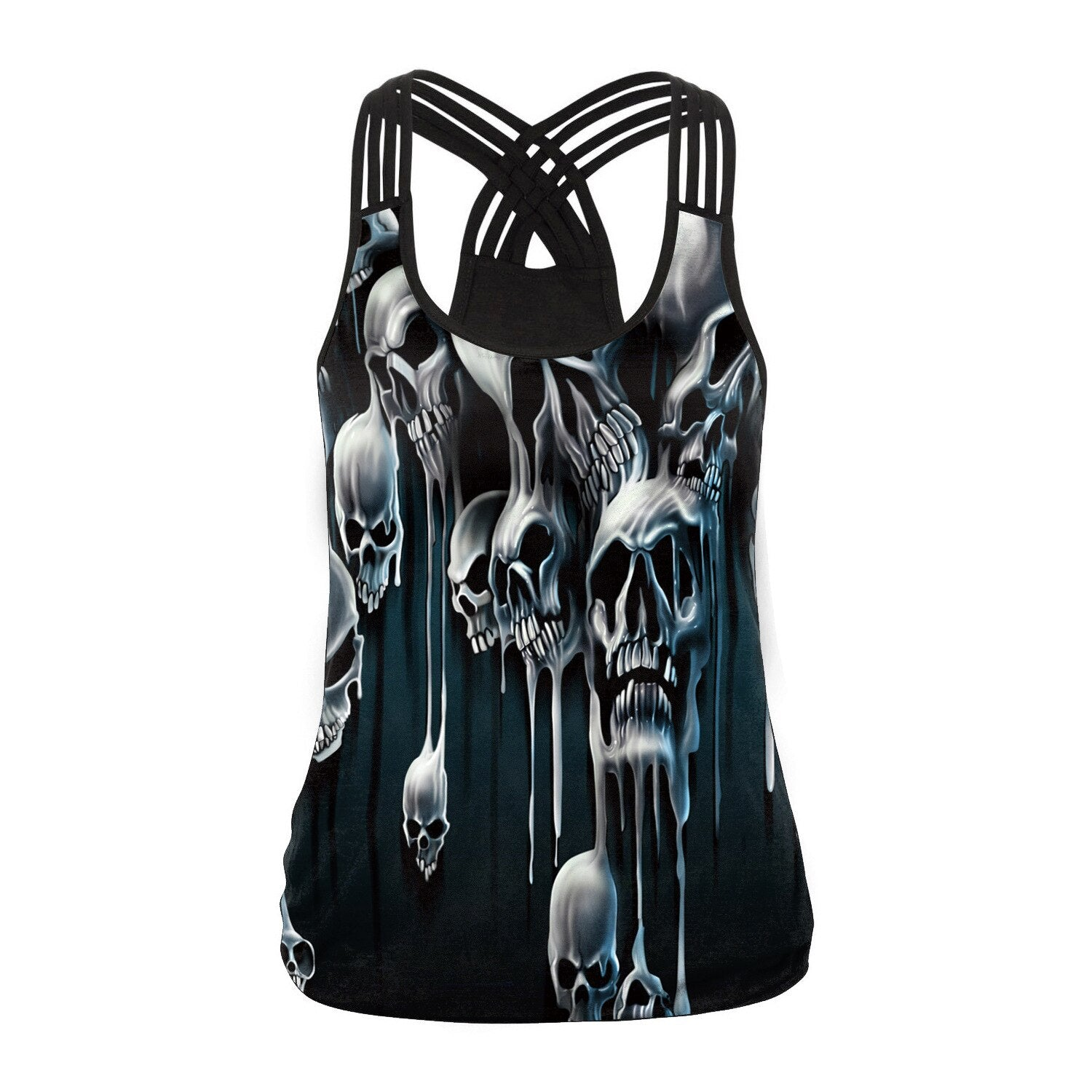 Sugar Skull Tank Top for Women / Halloween Fashion / Gothic Style Back Cross Sleeveless Vest #5 - HARD'N'HEAVY