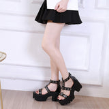Summer Black Gothic Platform Sandals / Open Toe Buckle Strappy Women's Sexy Shoes with Rivets - HARD'N'HEAVY