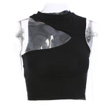 Summer Black Hollow Hanging Neck Tube Crop Top / Women's Fashion Sexy Solid Short Tops - HARD'N'HEAVY