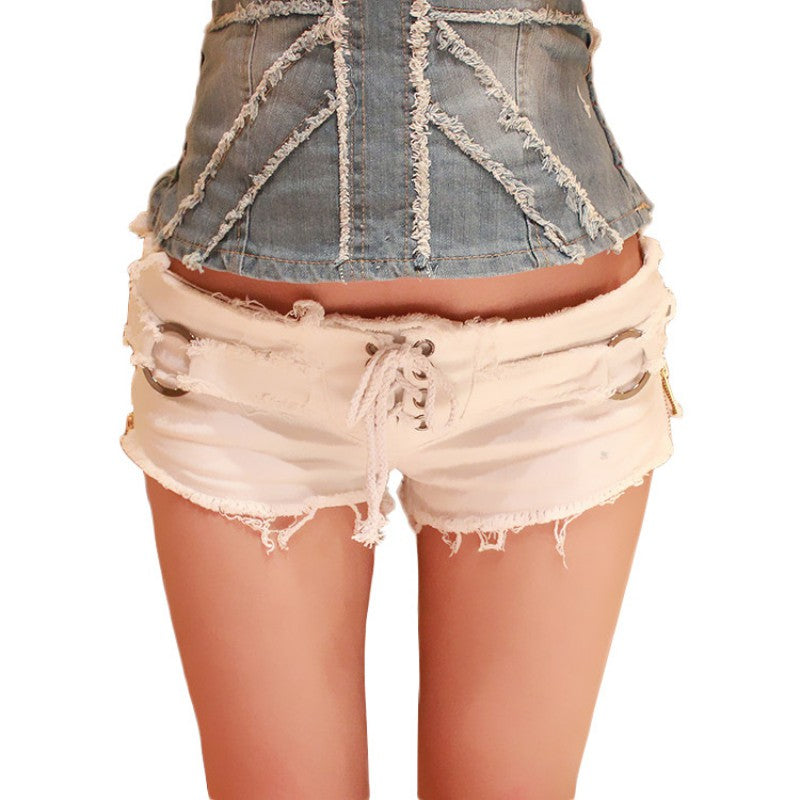 Summer Sexy Women's Short Shorts / Black and White Jean Shorts at Grunge Style - HARD'N'HEAVY