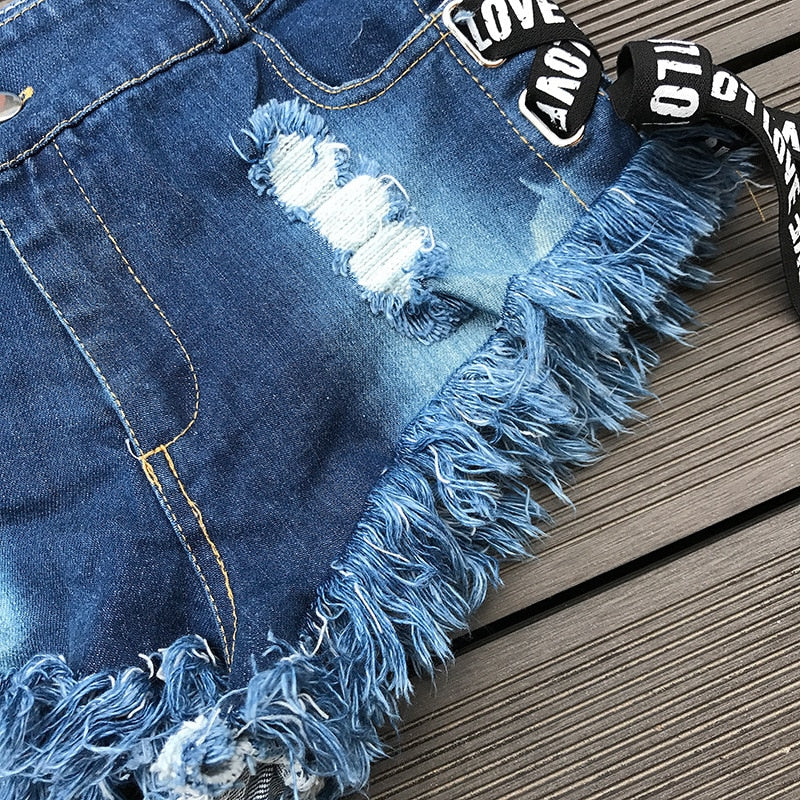 Summer Women Fashion Denim Short Shorts / Vintage High waist Sexy Ripped Lace-up Short Jeans - HARD'N'HEAVY