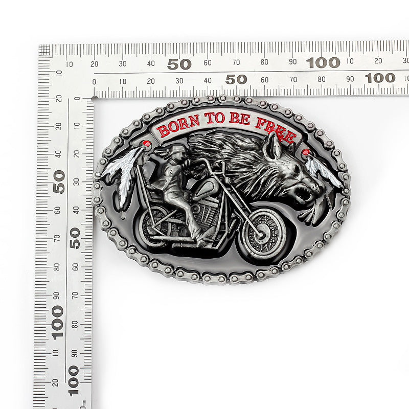 The Motorcycle and The Wolf Belt Buckle / Belts for True Rockers / Biker Style Accessories - HARD'N'HEAVY