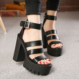 Thick Heel Wedges Platform Sandals for Women in Rock Style / Alternative Fashion Shoes - HARD'N'HEAVY