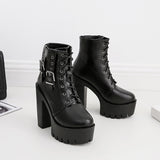 Thick High Heels Ankle Gothic Boots / Female Black Lace-up Short Boots with Buckle - HARD'N'HEAVY
