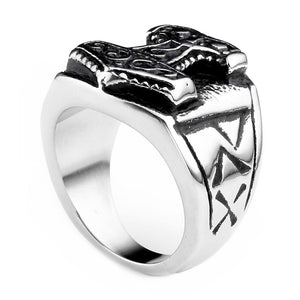 Thor's Hammer Classic Biker Ring / 316L Stainless Steel Nordic Style Jewelry