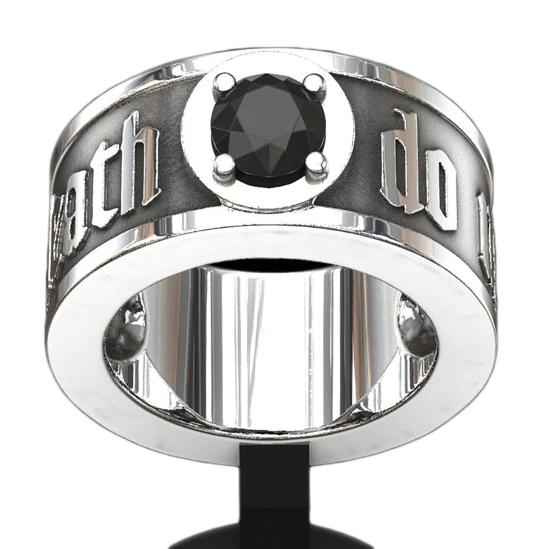 'Til Death Do Its Part' Skull Ring with Black Crystal / Punk Rock Engagement Jewelry for Men & Women - HARD'N'HEAVY