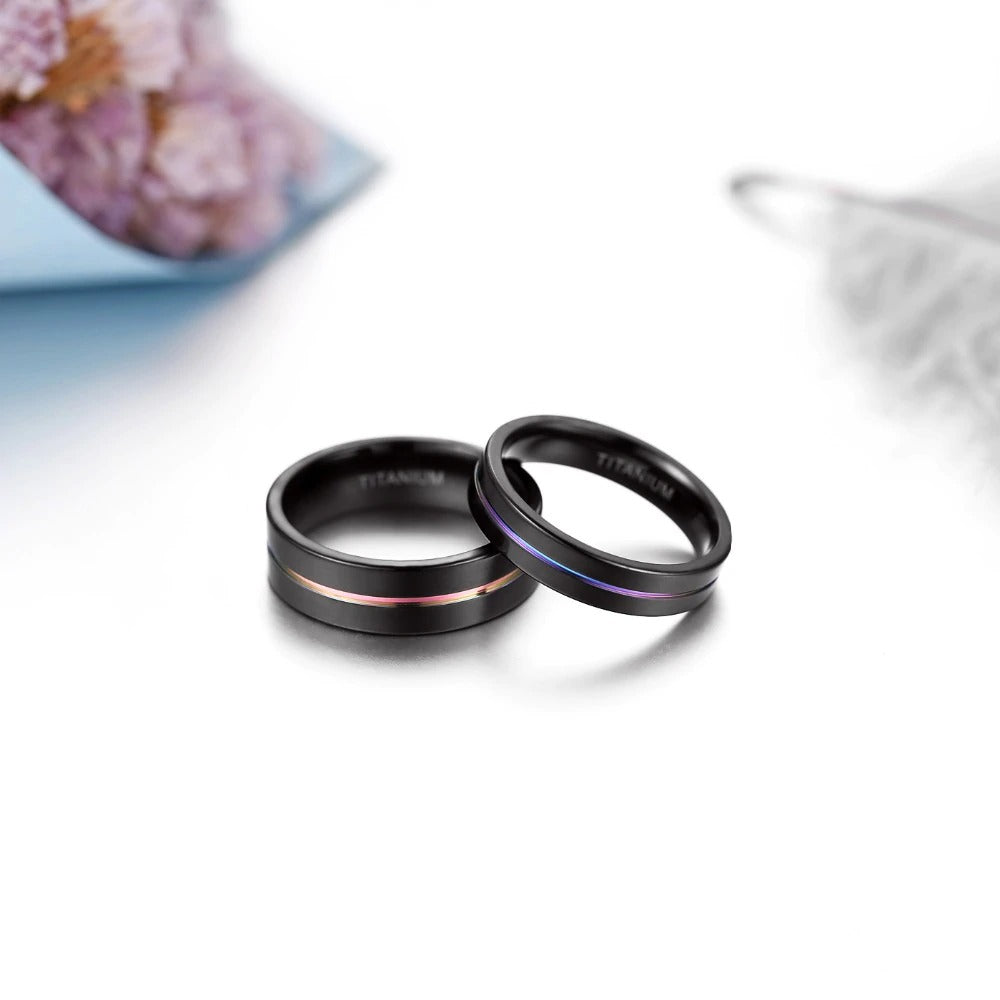 Titanium Ring / 5mm 7mm Rainbow Colorful Thin Groove Couple Rings / Witch jewelry - HARD'N'HEAVY