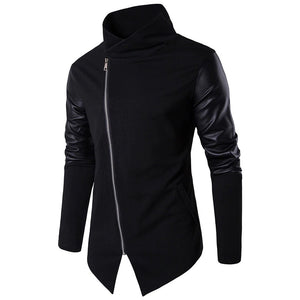 Turtleneck Sweater for Men in Alternative Fashion Clothes / PU Leather Sleeve Design Cardigans
