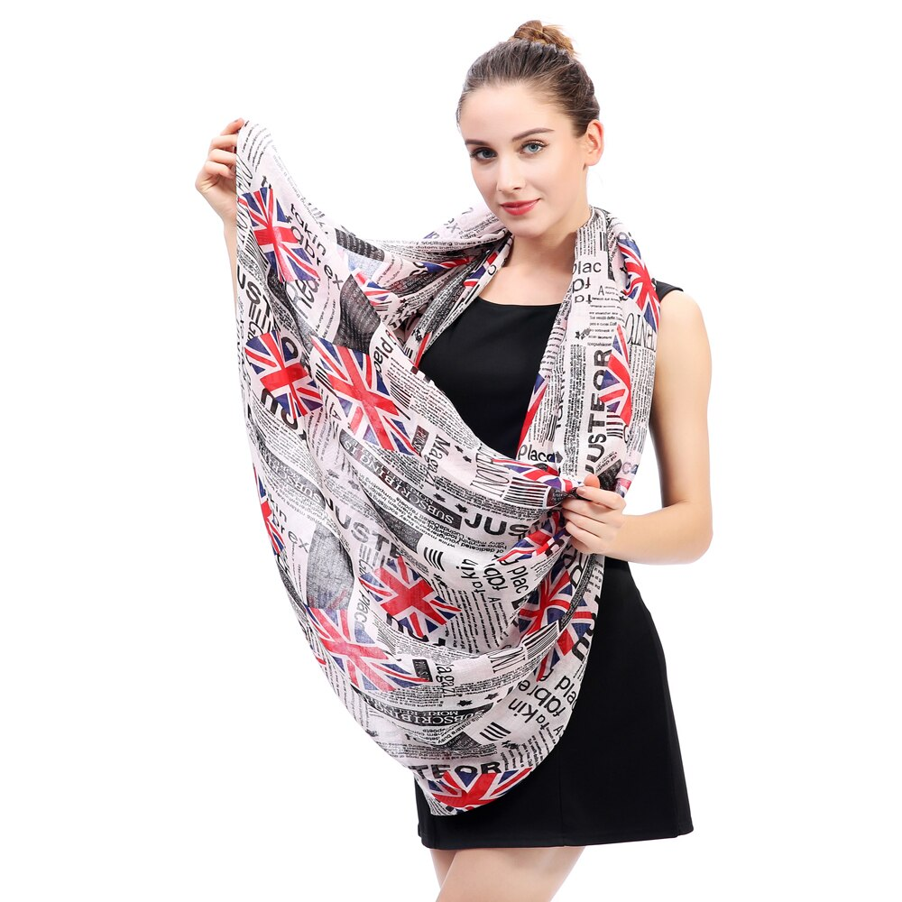 Union Jack Newspaper Print Infinity Loop Scarf in British Style / Women's Cowl Circle Accessories - HARD'N'HEAVY