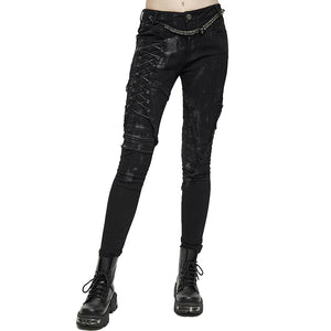 Unique Womens SteamPunk Mottled Jeans Streetwear / Skinny Black Denim Trousers
