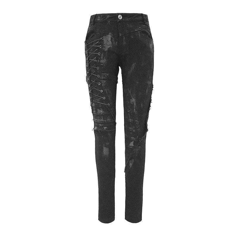 Unique Womens SteamPunk Mottled Jeans Streetwear / Skinny Black Denim Trousers - HARD'N'HEAVY