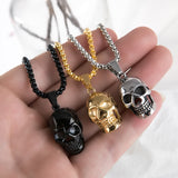 Unisex Stainless Steel Skull Necklace / Biker Rock Style Pendant and Chain - HARD'N'HEAVY
