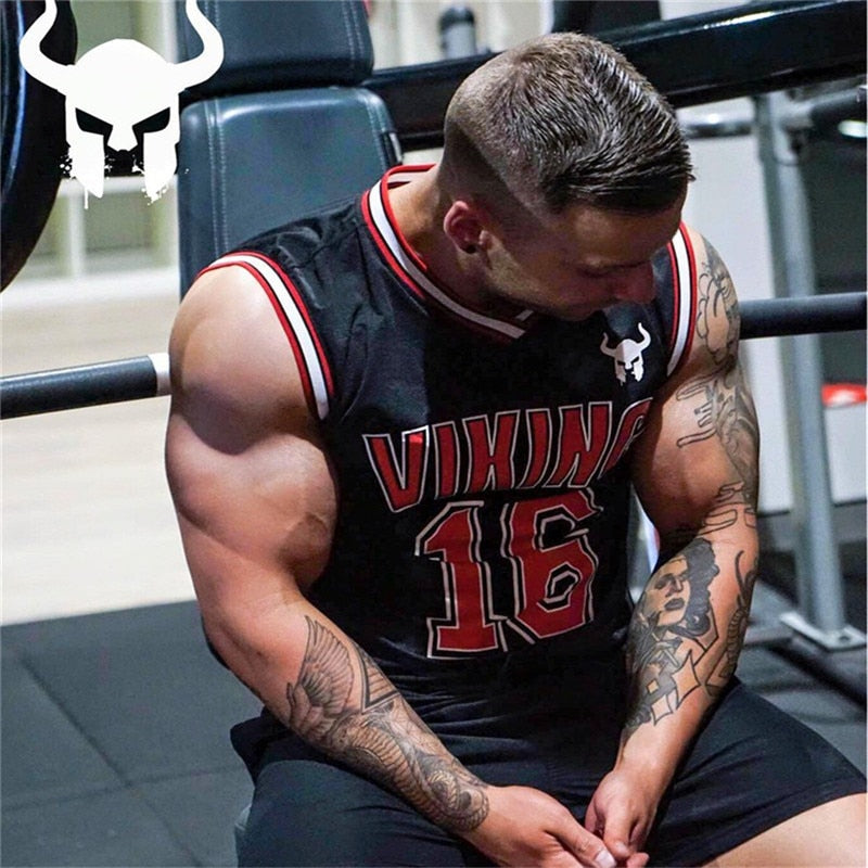 Viking Rock Style Men Gym Tank Tops / Stringer Bodybuilding Fitness sweat breathe freely Clothes - HARD'N'HEAVY