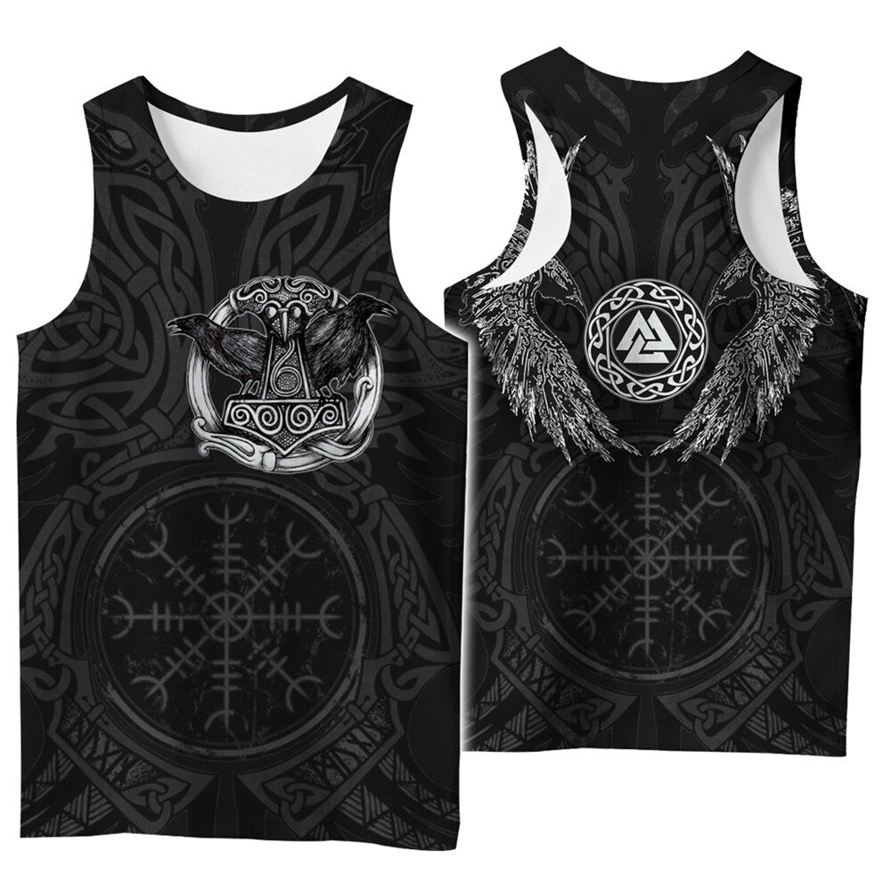 Viking Style 3D Printed Men Sleeveless T-shirt / Nordic Summer Streetwear Model #1 - HARD'N'HEAVY