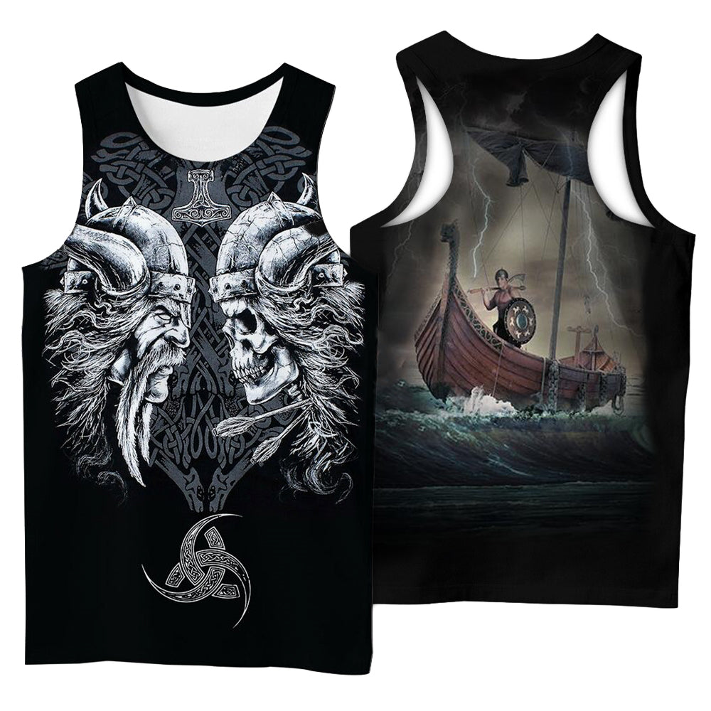 Viking Style 3D Printed Men Sleeveless T-shirt / Nordic Summer Streetwear Model #12 - HARD'N'HEAVY