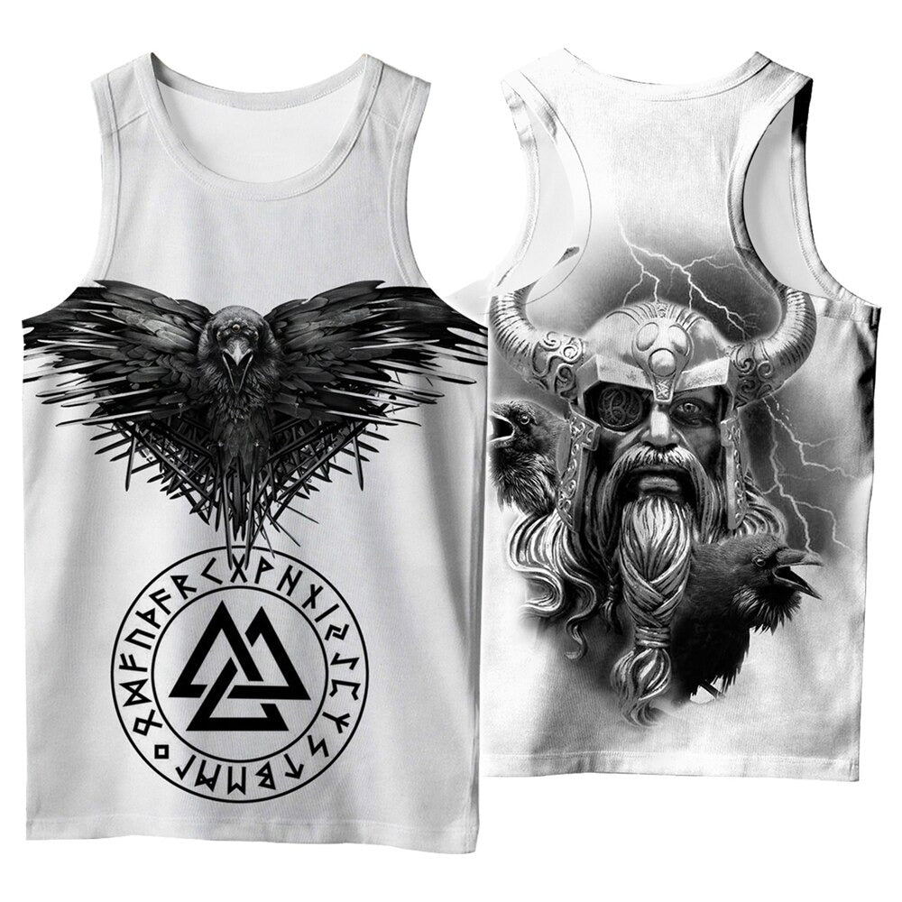 Viking Style 3D Printed Men Sleeveless T-shirt / Nordic Summer Streetwear Model #2 - HARD'N'HEAVY