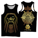 Viking Style 3D Printed Men Sleeveless T-shirt / Nordic Summer Streetwear Model #5 - HARD'N'HEAVY
