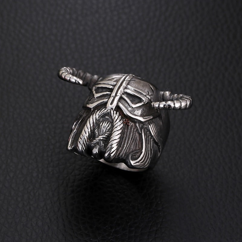 Vikings Helmet Warrior Ring / Nordic Vintage Heavy Stainless Steel Rings / Unique Jewelry - HARD'N'HEAVY