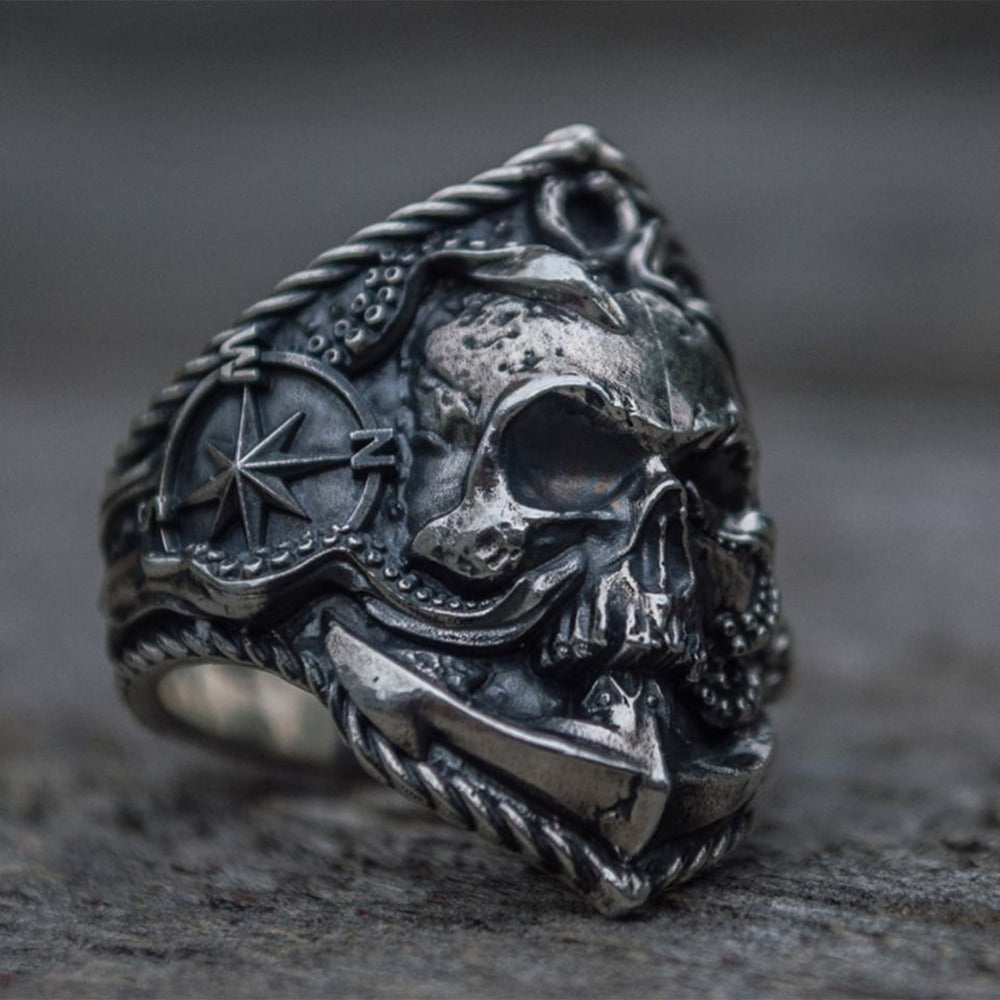 Vintage Anchor Skull Rings / Buccaneer Compass Octopus Tentacle Skull Ring / Punk Biker Jewelry - HARD'N'HEAVY