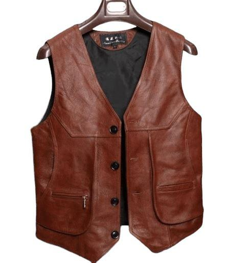Mens Vintage Leather Vest Black Red Waxed Real Cow Leather Rock Hunter Waistcoat