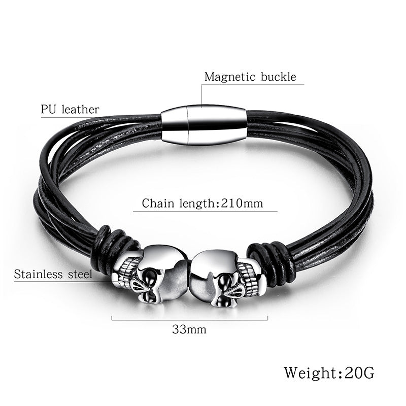 Vintage Black Double Skull Bracelets For Men and Women / Stainless Steel Bangle Jewelry - HARD'N'HEAVY