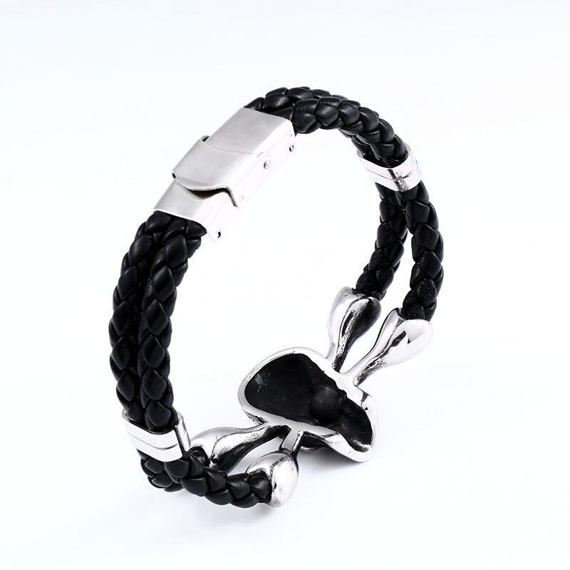 Vintage Black Skull Bracelets Bangles Leather Skeleton Charm Jewelry - HARD'N'HEAVY