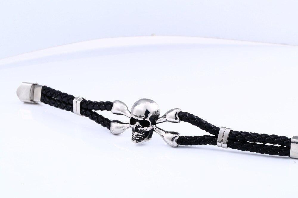 Vintage Black Skull Bracelets Bangles Top Quality Leather Skeleton Charm Jewelry - HARD'N'HEAVY