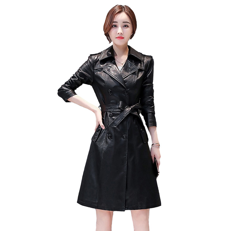 Vintage Compound sheepskin Long overcoat / Women's PU Leather lace-up plus size Goth trench Coat - HARD'N'HEAVY